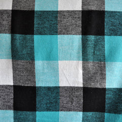 Box Plaid Flannel Shirting Turquoise SY - Sold Out - Style Maker Fabrics