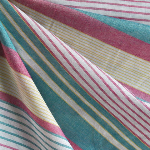 Summer Stripe Cotton Lawn Teal/Berry