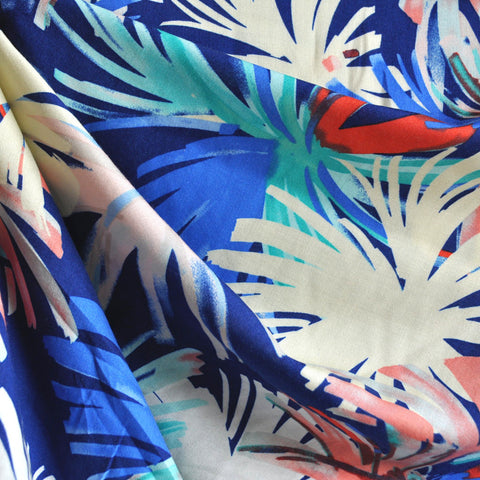 Watercolor Burst Rayon Challis Blue/Coral