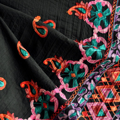 Embroidered Border Cotton Lawn Black