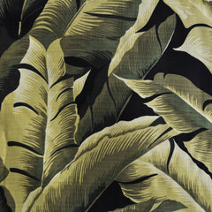On the Lanai Barkcloth Floral Leaves Olive - Fabric - Style Maker Fabrics