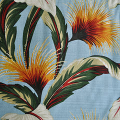On the Lanai Barkcloth Floral Burst Blue - Fabric - Style Maker Fabrics