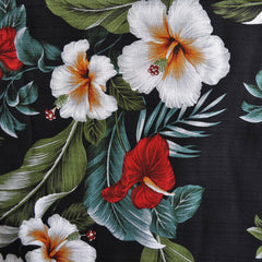 On the Lanai Barkcloth Floral Black - Sold Out - Style Maker Fabrics