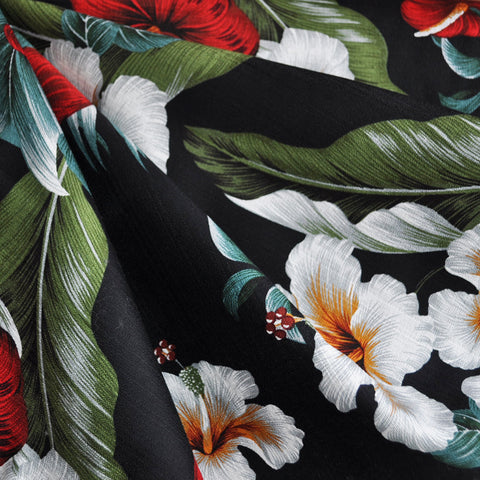 On the Lanai Barkcloth Floral Black