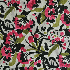 Japanese Linen Blend Shirting Floral Magenta - Sold Out - Style Maker Fabrics