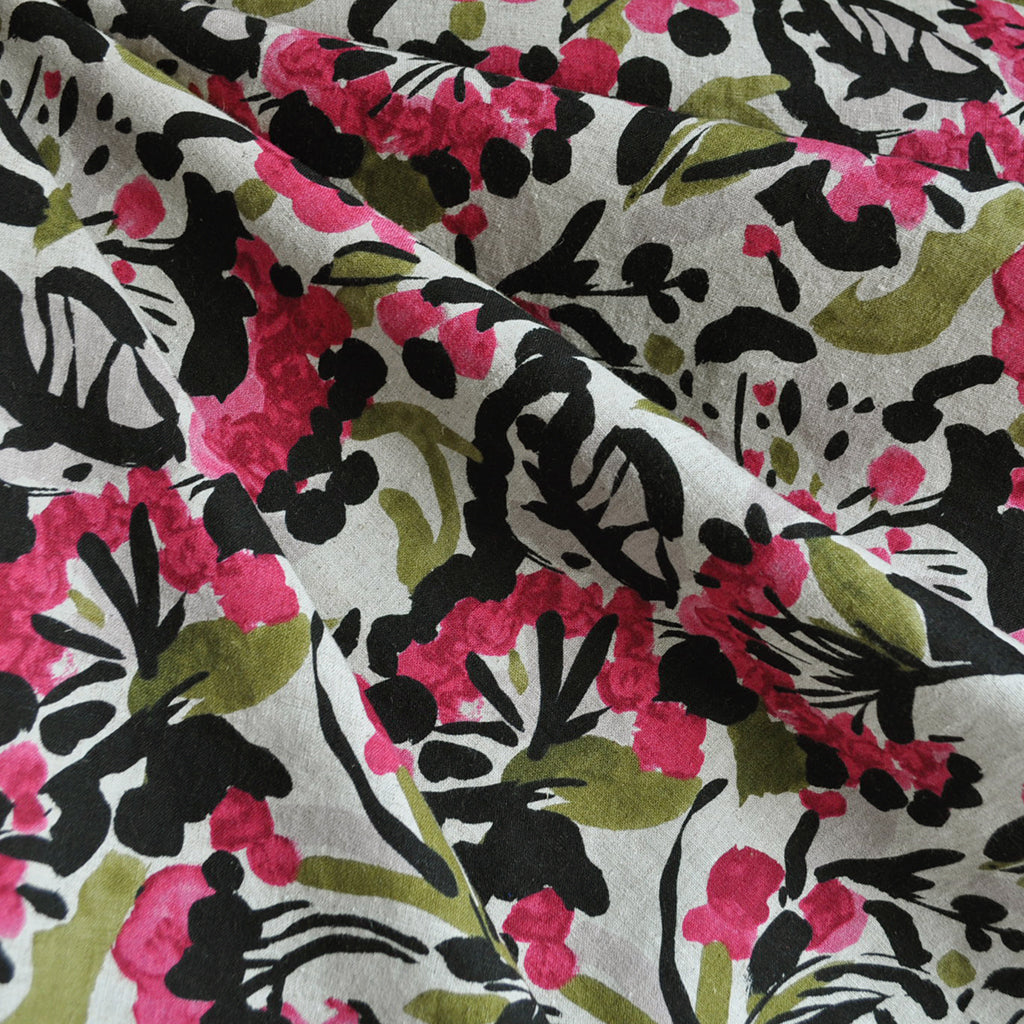 Japanese Linen Blend Shirting Floral Magenta - Fabric - Style Maker Fabrics