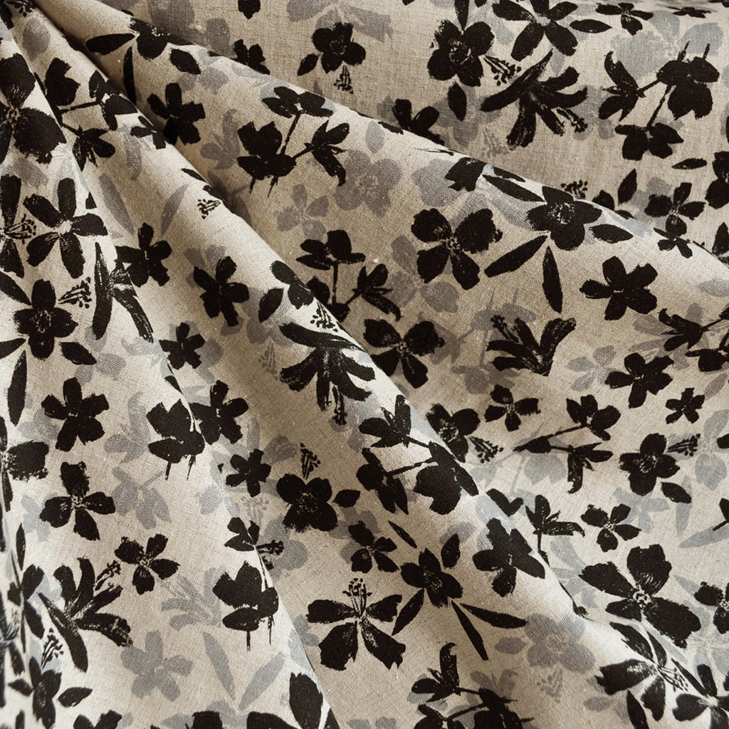 Japanese Linen Blend Shirting Scattered Floral Black - Fabric - Style Maker Fabrics