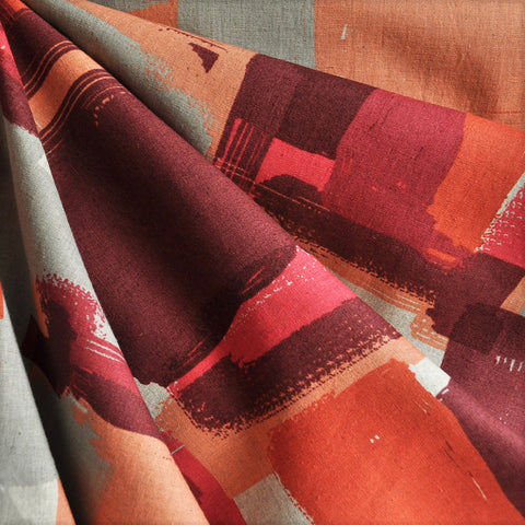 Japanese Linen Blend Shirting Geometric Reds