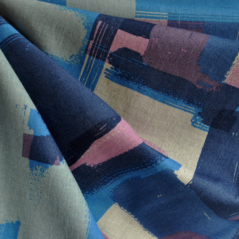 Japanese Linen Blend Shirting Geometric Blues