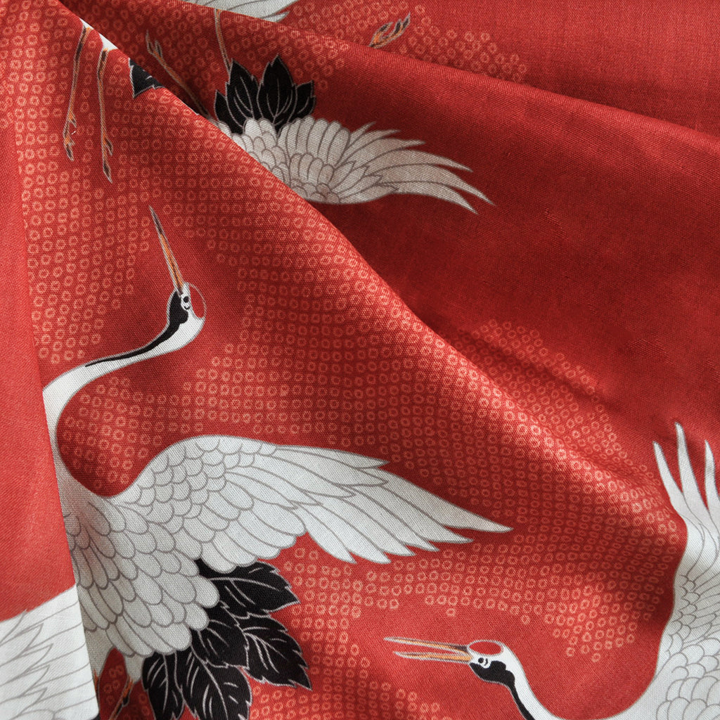 Japanese Double Gauze Cranes Take Flight Red SY - Sold Out - Style Maker Fabrics