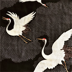 Japanese Double Gauze Cranes Take Flight Black - Fabric - Style Maker Fabrics