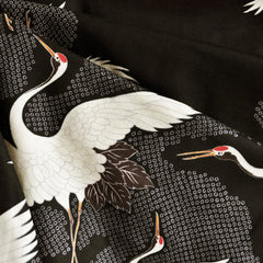 Japanese Double Gauze Cranes Black SY - Sold Out - Style Maker Fabrics