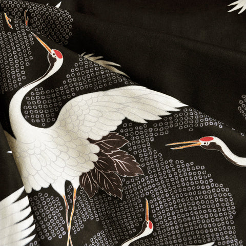 Japanese Double Gauze Cranes Take Flight Black