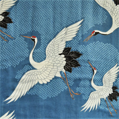 Japanese Double Gauze Cranes Take Flight Slate - Sold Out - Style Maker Fabrics