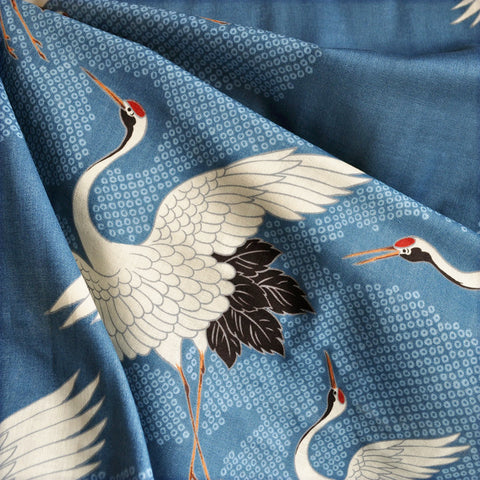 Japanese Double Gauze Cranes Take Flight Slate
