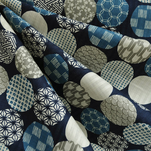Japanese Cotton Dobby Shirting Circles Blue