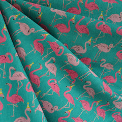 Japanese Flamingo Canvas Teal/Pink SY - Sold Out - Style Maker Fabrics