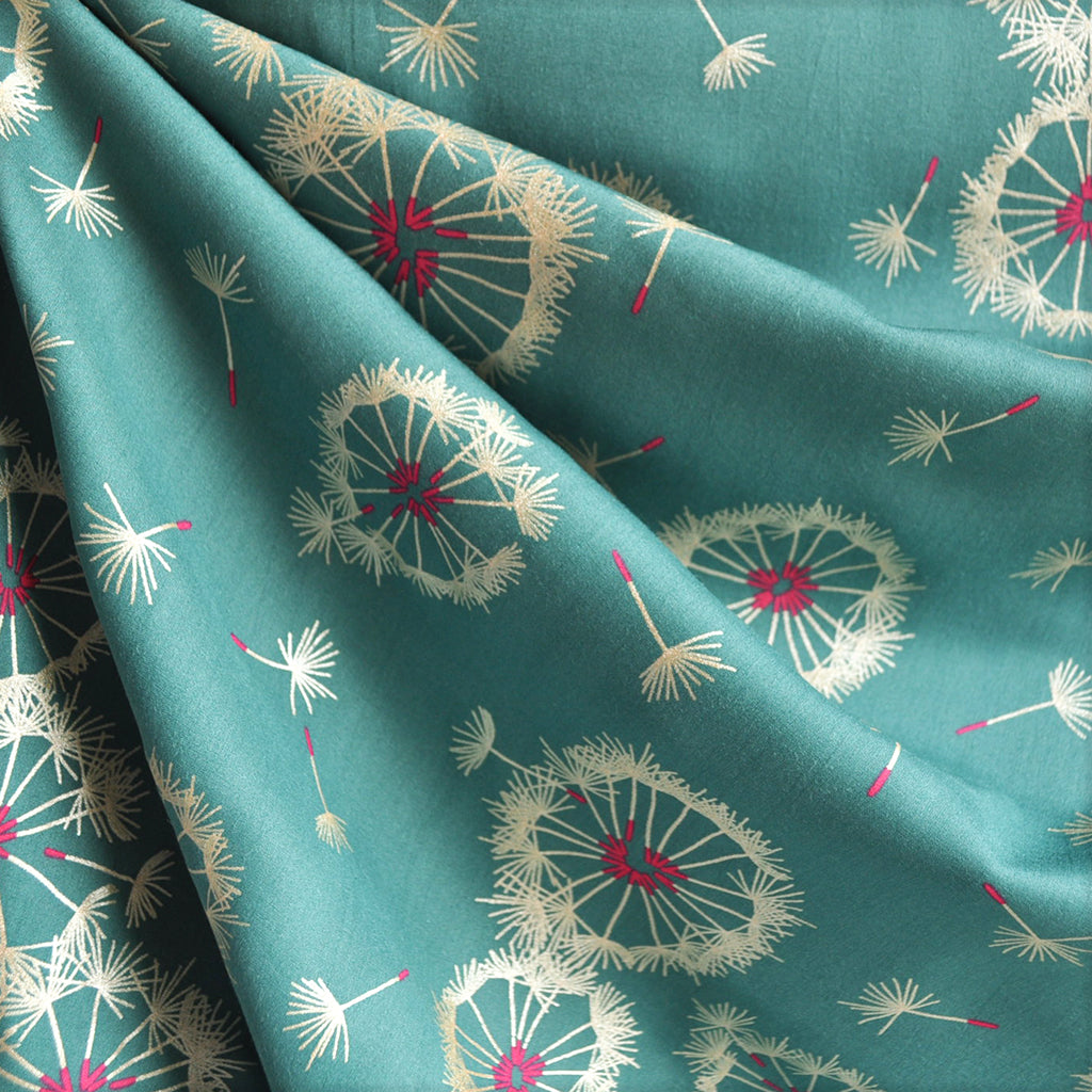 Tiny Dancer Dandelion Rayon Teal/Metallic SY - Sold Out - Style Maker Fabrics