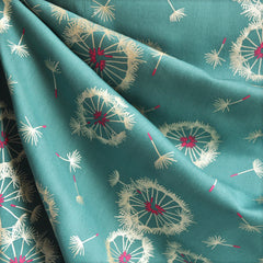 Tiny Dancer Dandelion Rayon Teal/Metallic - Sold Out - Style Maker Fabrics