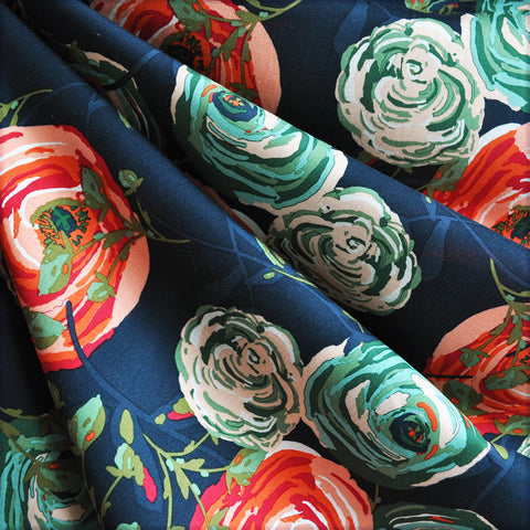 Woodland Roses Rayon Navy/Red