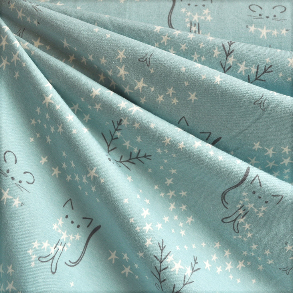 Starlight Critter Jersey Knit Fog SY - Sold Out - Style Maker Fabrics