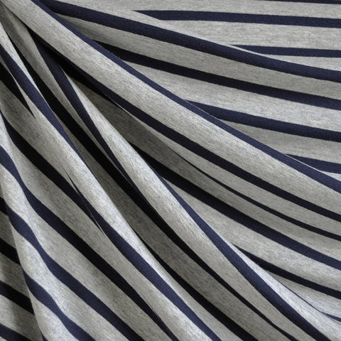 Jersey Knit Pencil Stripe Heather Grey/Navy