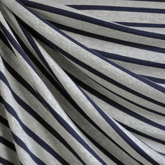 Jersey Knit Pencil Stripe Heather Grey/Navy SY - Sold Out - Style Maker Fabrics
