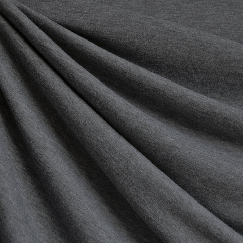 Wool Blend Jersey Knit Solid Charcoal