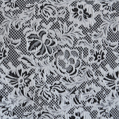 Floral Lace Texture Double Knit Black/White SY - Sold Out - Style Maker Fabrics
