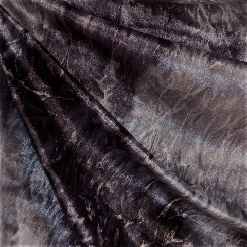 Textured Stretch Velvet Solid Charcoal