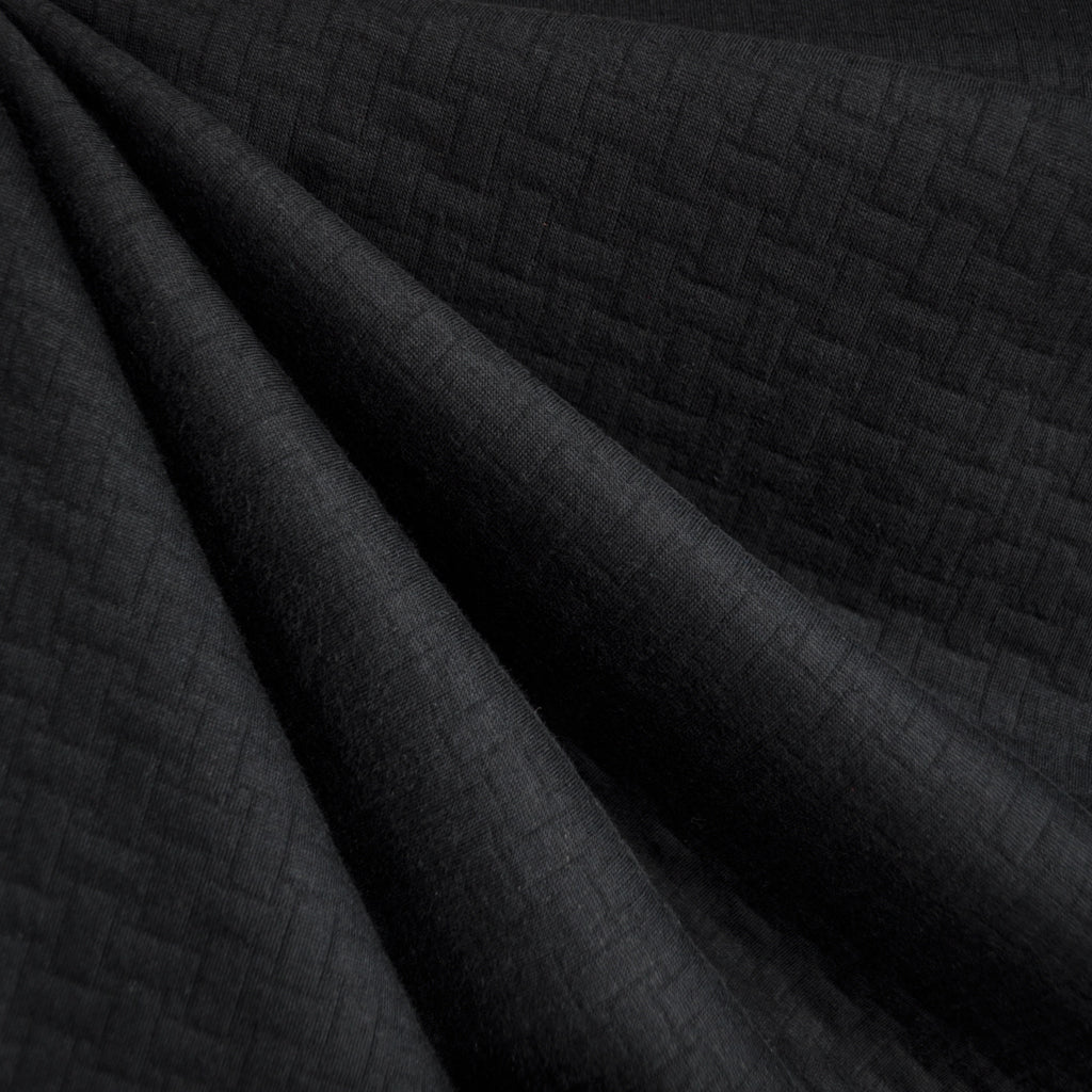 Basketweave Quilted Double Knit Black - Sold Out - Style Maker Fabrics