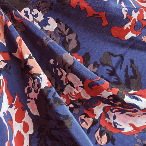 Abstract Rose Floral Silk Crepe Navy SY