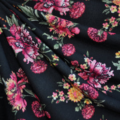 Texture Double Knit Wild Flowers Black SY - Sold Out - Style Maker Fabrics