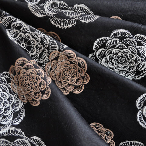 Embroidered Cotton Sateen Floral Black