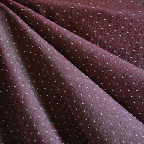 Cotton Chambray Dot Shirting Burgundy
