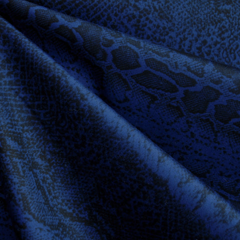 Stretch Cotton Sateen Snakeskin Royal/Black