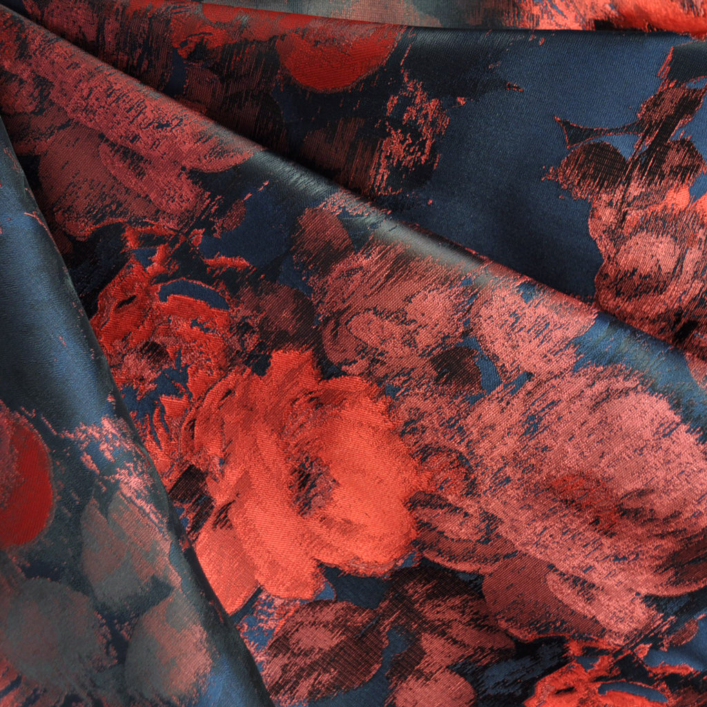Elegant Rose Taffeta Jacquard Burgundy/Navy - Sold Out - Style Maker Fabrics