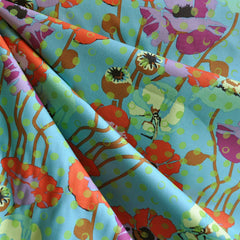 Raindrop Poppies Cotton Turquoise - Fabric - Style Maker Fabrics