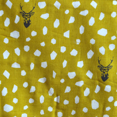 Japanese Echino Double Gauze Spot the Deer Mustard - Sold Out - Style Maker Fabrics
