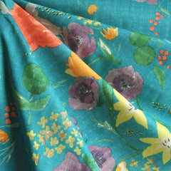 Nani Iro Double Gauze Floral Teal - Sold Out - Style Maker Fabrics