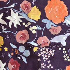 Japanese Nani Iro Sateen Floral Eggplant - Sold Out - Style Maker Fabrics