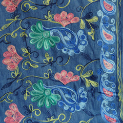 Embroidered Floral Border Chambray Blue SY - Sold Out - Style Maker Fabrics