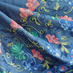 Embroidered Floral Border Chambray Blue - Sold Out - Style Maker Fabrics