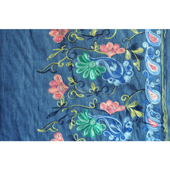 Embroidered Floral Border Chambray Blue - Fabric - Style Maker Fabrics