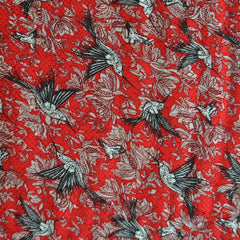 Hummingbird Textured Rayon Shirting Red SY - Sold Out - Style Maker Fabrics