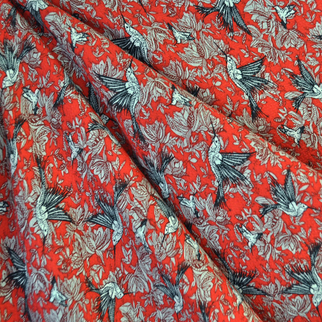 Hummingbird Textured Rayon Shirting Red - Sold Out - Style Maker Fabrics
