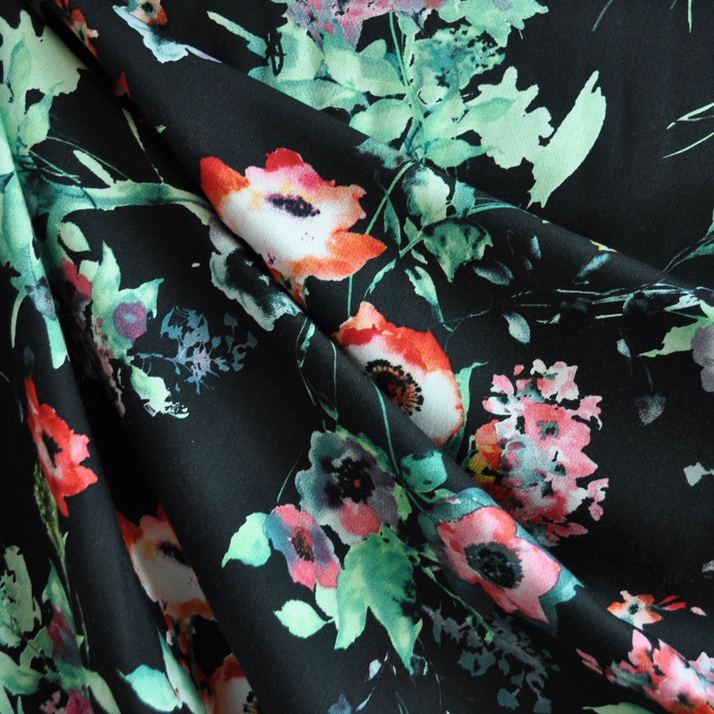 Watercolor Floral Rayon Shirting Black SY - Sold Out - Style Maker Fabrics