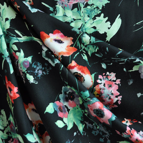 Watercolor Floral Rayon Shirting Black
