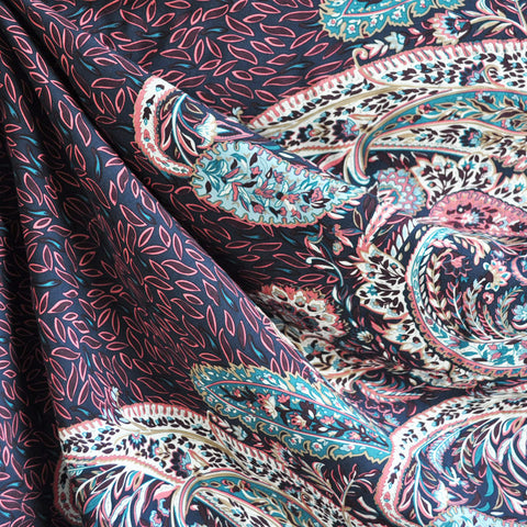 Paisley Single Border Rayon Voile Navy/Plum