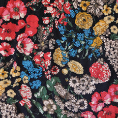 Autumn Floral Rayon Shirting Black SY - Sold Out - Style Maker Fabrics
